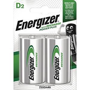 Genopladelige batterier Energizer NIMH D, pakke a 2 stk.