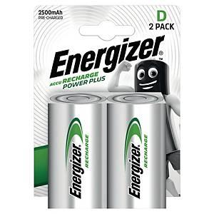 Oppladbare batterier Energizer NIMH D, pakke à 2 stk.