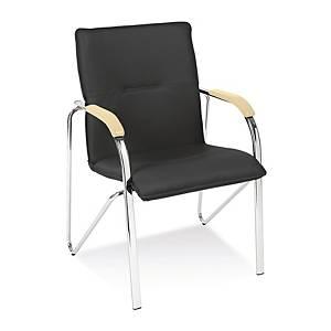 Samba chrome Konferenzstuhl, schwarz, Tragfähigkeit: bis 110 kg