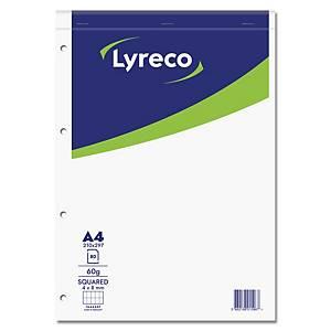 Bloc-notes Lyreco A4, carreaux 4 x 8 mm, collé en tête, 80 feuilles