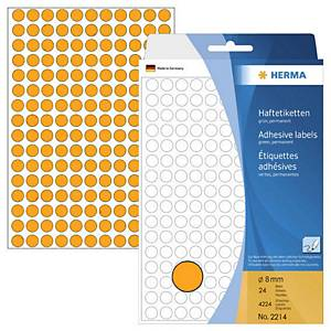 Herma 2214 Round Label 8mm Luminous Orange - Box of 4224