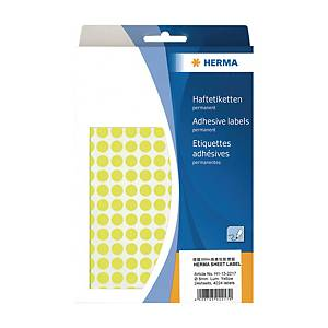 Herma 2217 Round Label 8mm Luminous Yellow - Box of 4224