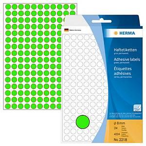 Herma 2218 Round Label 8mm Luminous Green - Box of 4224