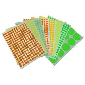 HERMA 顏色標籤圓形 2238 13毫米 螢光綠色 每盒1848個標籤