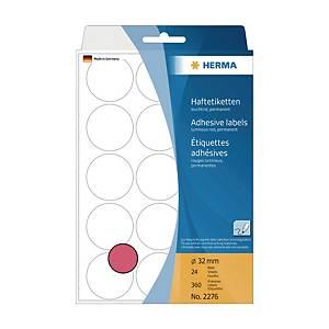 Herma 2276 Round Label 32mm Luminous Red - Box of 360