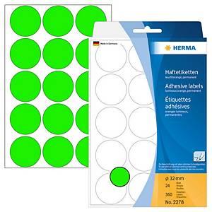 HERMA 顏色標籤圓形 2278 32毫米 螢光綠色 每盒360個標籤