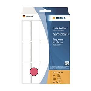 HERMA 顏色標籤長方形 2416 20 x 50毫米 螢光紅色 每盒360個標籤