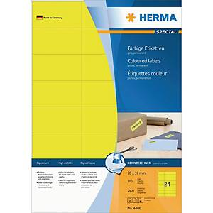 Herma 4406 coloured labels 70x37mm yellow - box of 2400