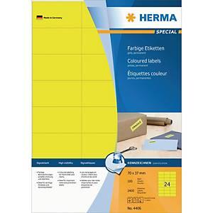 Herma 4406 gekleurde etiketten, geel, 70 x 37 mm, doos van 2400