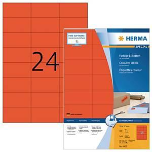HERMA 4407 gekleurde etiketten A4 70x37 mm rood - doos van 2400