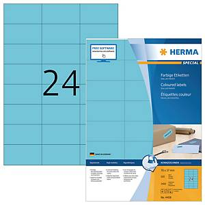 Herma 4408 coloured labels 70x37mm blue - box of 2400