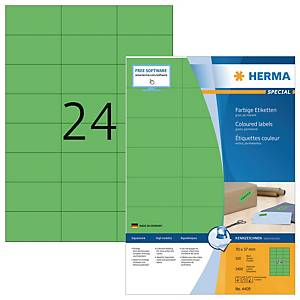 Herma 4409 coloured labels 70x37mm green - box of 2400