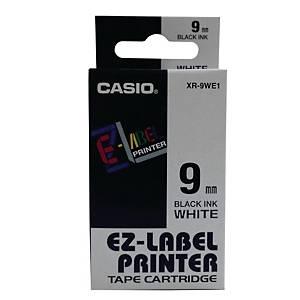 Casio XR-9WE1 Labelling Tape 9mm X 8m Black/ White