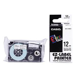 Casio XR-12WE1 Labelling Tape 12mm X 8m Black/White