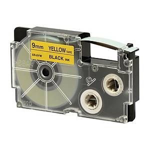 CASIO 卡西歐 XR-9YW1 顏色標籤帶 9毫米 x 8米 黑色字黃色底