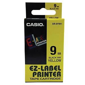 Casio XR-9YW1 Labelling Tape 9mm X 8m Black/Yellow