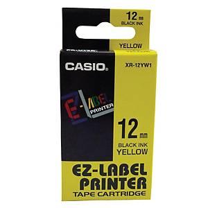 Casio XR-12YW1 Labelling Tape 12mm X 8m Black/Yellow