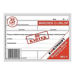 Druk EMERSON Wniosek urlopowy  A6, 50 kartek