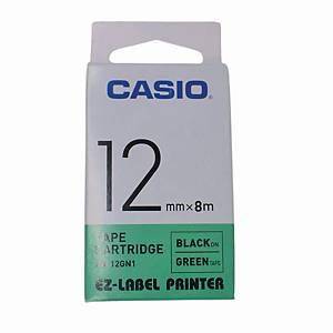 Casio XR-12GN1 Tape 12mm x 8m Black on Green