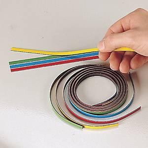 Ruban magnétique Nobo - 5 mm x 1 m - coloris assortis - lot de 4