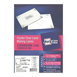 Avery 艾利 L7567 透明鐳射標籤 199.6 X 289.1毫米 每張1個標籤