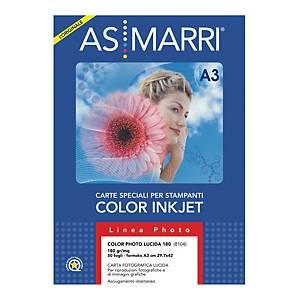 Carta fotografica lucida AS MARRI stampanti inkjet A3 180 g/mq - risma 50 fogli