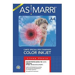 Carta fotografica lucida AS MARRI stampanti inkjet A4 150 g/mq - risma 50 fogli