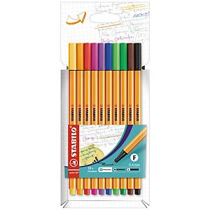 Fineliner Stabilo® point 88, pointe fine, couleurs assorties, les 10 fineliners
