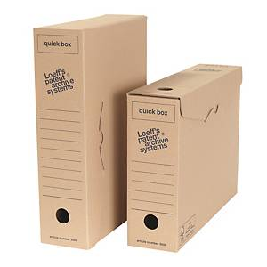 Boîtes d'archives Loeff s Patent Quickbox, A4, dos 8 cm, carton ondulé, les 50