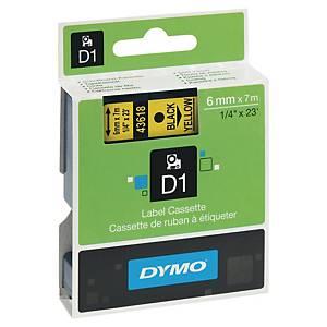 Ruban pour étiquettes Dymo 43618 D1, ruban adhésif, 6 mm, noir sur jaune