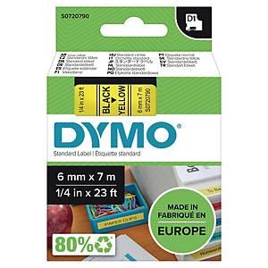 Märkband Dymo D1, 6 mm, gult/svart