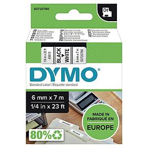 Dymo D1 szalag, 6 mm x 7 m, fekete-fehér