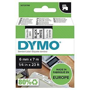 Märkband Dymo D1, 6 mm, vitt/svart