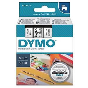 Ruban pour étiquettes Dymo 43610 D1, ruban adhésif, 6 mm, noir sur transparent