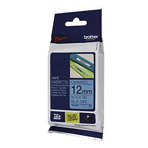 BROTHER P-TOUCH TZ Labelling Tape 8m X 12mm - Black on Blue