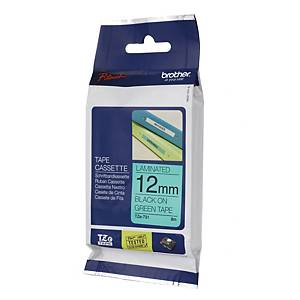 BROTHER P-TOUCH TZ Labelling Tape 8m X 12mm - Black on Green
