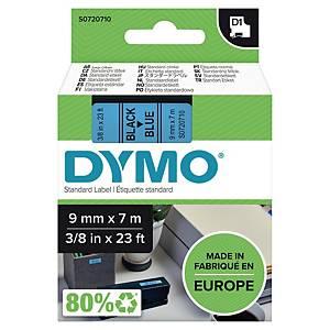 Ruban pour étiquettes Dymo 40916 D1, ruban adhésif, 9 mm, noir sur bleu