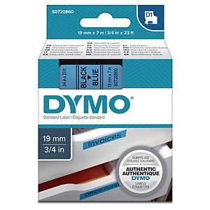 Dymo 45806 D1 etiketteerlint op tape, 19 mm, zwart op blauw
