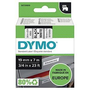 Nastro D1 per etichettatrice Dymo 19 mm nero/bianco S0720830