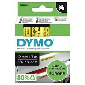Dymo 45808 D1 etiketteerlint op tape, 19 mm, zwart op geel