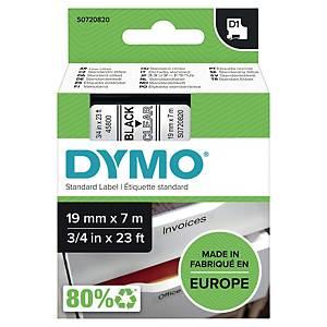 Ruban pour étiquettes Dymo 45800 D1, ruban adhésif, 19 mm, noir sur transparent