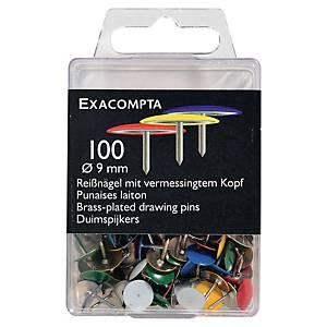 Punaise Exacompta laiton - coloris assortis - boîte de 100