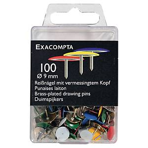 Exacompta Drawing Pins, 9mm Round, 9mm Height - Assorted Colours, Box of 100