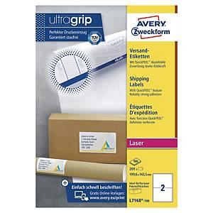 Étiquettes d'expédition Avery L7168 Ultragrip, 199,6 x 143,5 mm, les 200