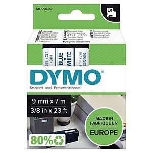 Dymo 40914 ruban D1 9mm bleu/blanc