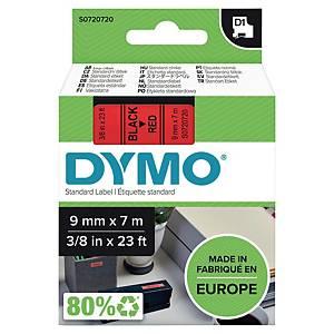 Märkband Dymo D1, 9 mm, rött/svart