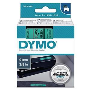 Dymo 40919 D1 etiketteerlint op tape, 9 mm, zwart op groen