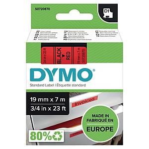 Ruban pour étiquettes Dymo 45807 D1, ruban adhésif, 19 mm, noir sur rouge