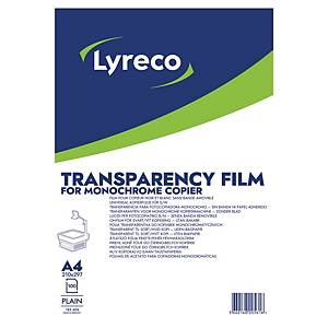 LYRECO A4 PLAIN CLEAR PHOTOCOPIER TRANSPARENCY FILM - BOX OF 100 SHEETS