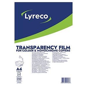 LYRECO A4 SENSOR STRIP CLEAR PHOTOCOPIER TRANSPARENCY FILM - BOX OF 100 SHEETS